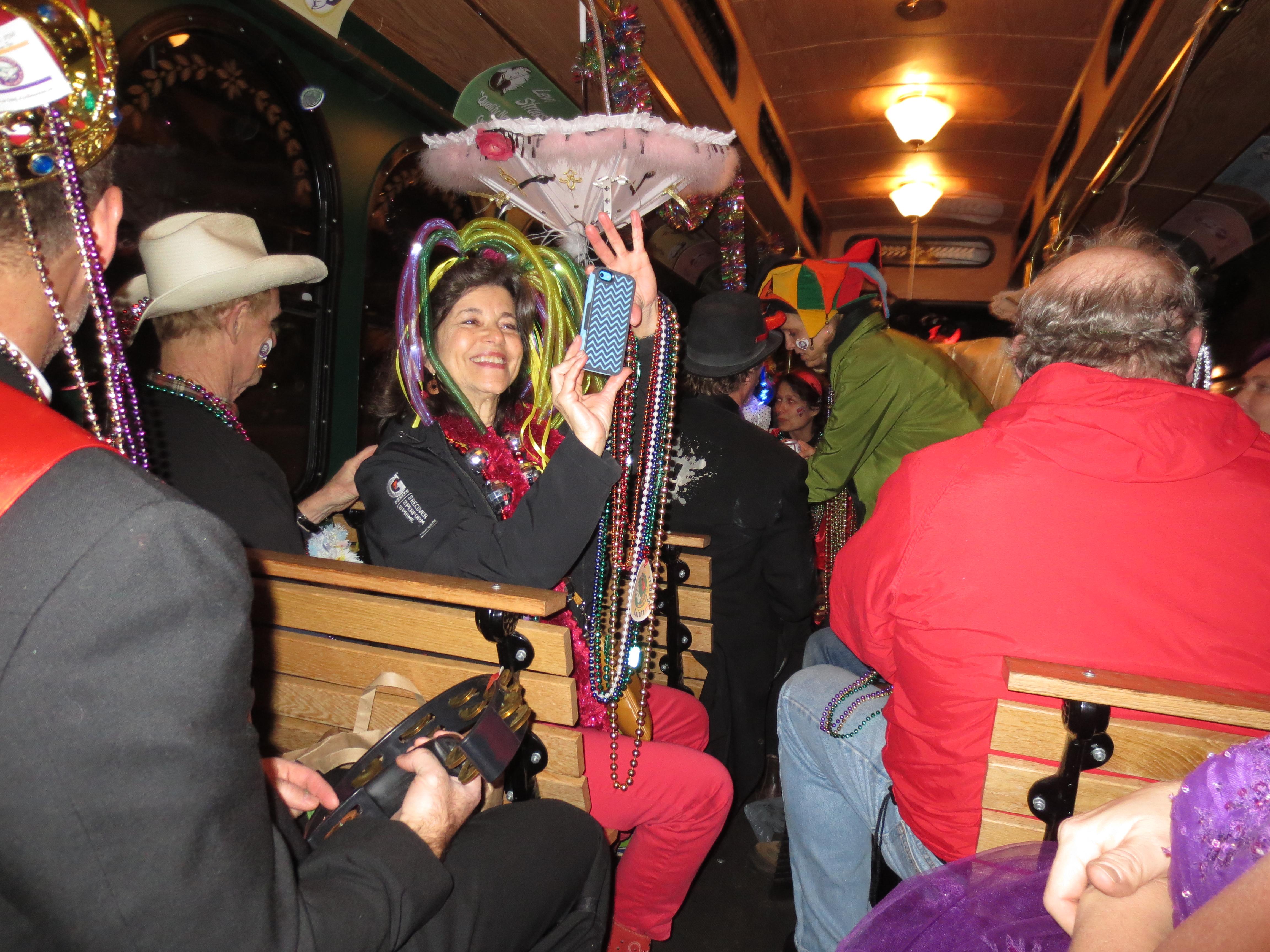 Mysti Krewe on the Trolley