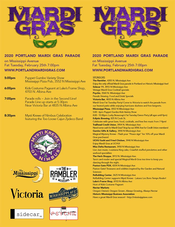 Full list of Mardi Gras Events on Mississippi Avenue Feb 25 2020